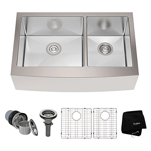 Kraus KHF203-33 33 inch Farmhouse Apron 60/40 Double Bowl 16 gauge Stainless Steel Kitchen Sink (Double Bowl Apron)