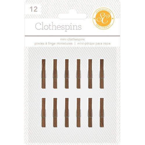Studio Calico 12-Piece Essentials Wood Clothespins, 1-Inch, Wood Grain (Studio Calico Wood)
