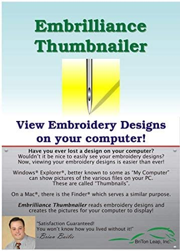 Embrilliance Essentials /& Viewer Thumbnailer Embroidery Software  Win//Mac /& PC