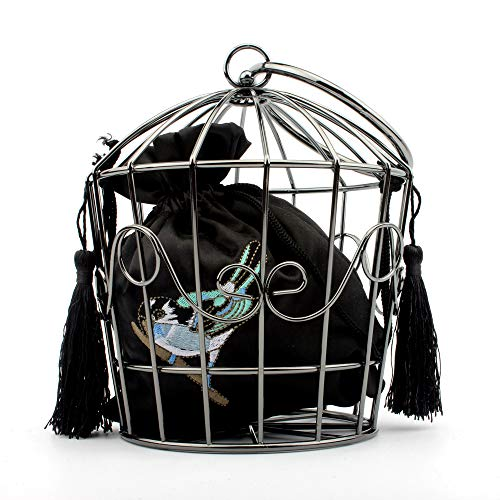 Women's elegant chain metal hollow cage clutch with Birdcage suspenders ()