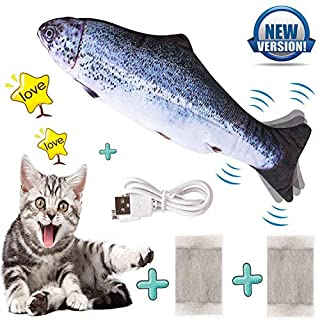 """Flopping Fish Cat Toy, Catnip Toys for Indoor Cats Ddzmz Simulation Real Fish Wagging Pet Cat Interactive Pillow Fish Can Chew Bite Kick Plush Electric Toy USB Charging for Cat Kitten Kitty 11""""(1Pack)"""