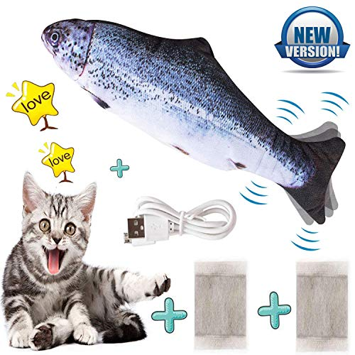 Ddzmz Cat Toys for Indoor Cats Interactive, Cat Kicker Fish Realistic Plush Simulation Electric Wagging Fish Refillable…