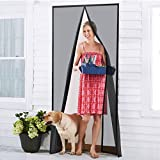 Homitt [Upgraded Version] Magnetic Screen Door with Durable Fiberglass Mesh Curtain and Full Frame Hook & Loop Fits Door Size up to 36''x82'' Max- Black