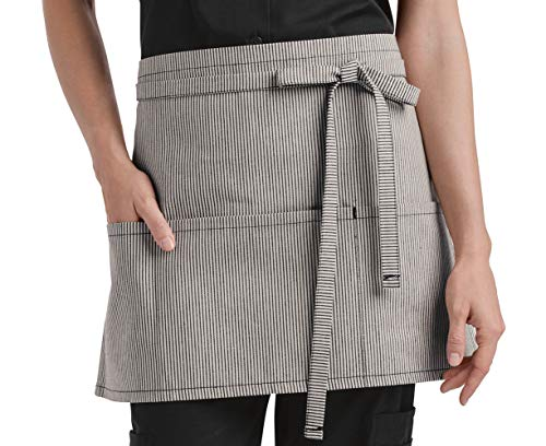 Now Designs Striped Apron - Ivory/Blue Waist Apron with 3 Pockets
