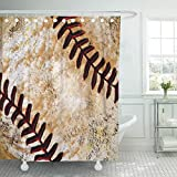 "ideas for decorating a bedroom Semtomn Shower Curtain Room Vintage Baseball for Bedrooms Decorating Ideas 72""x72"" Home Decor Waterproof Bath Bathroom Curtains Set with Hooks"