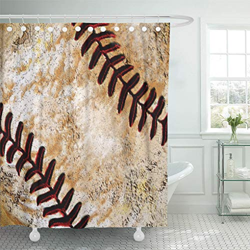 "Semtomn Shower Curtain Room Vintage Baseball for Bedrooms Decorating Ideas 72""x72"" Home Decor Waterproof Bath Bathroom Curtains Set with Hooks"