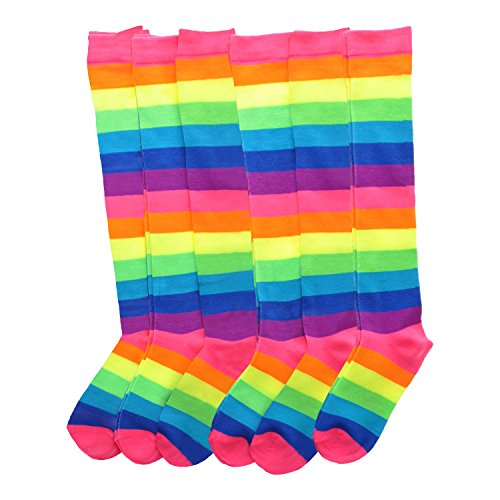 Angelina NEON Rainbow Striped Knee High Socks, #2540 6-Pair Lady's #2540_9-11_6 -