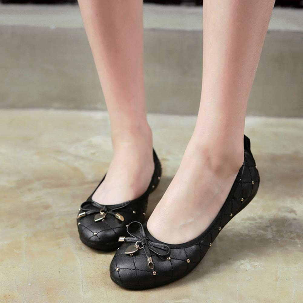 uirend Womens Casual Closed Ballet Bow Slip On Ballerina Flat Sequin Dolly Pumps Soft Bottom Office Loafers Boat Shoes