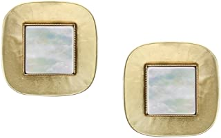 product image for Marjorie Baer Brass and Mother of Pearl Clip on Earring