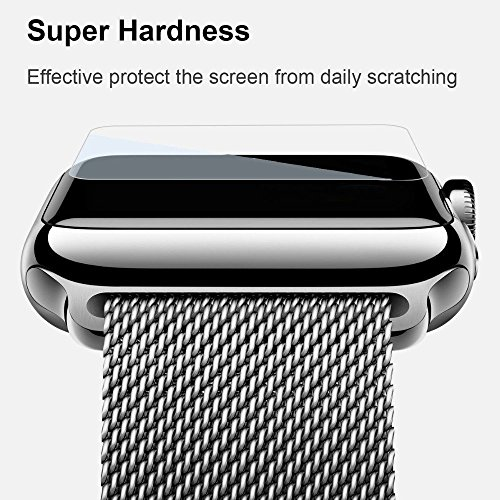 X-Doria Defense Edge Premium Aluminum & TPU Bumper Frame (Silver White) - Compatible with Watch 42mm Watch Case Tempered Glass Screen protector [Only Covers the Flat Area] (Edges Tpu)
