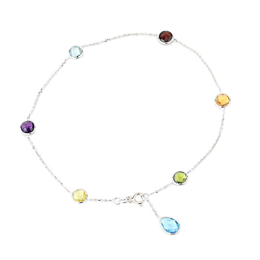 14K White Gold Gemstone Anklet Bracelet With A Blue Topaz Drop 9 -11 Inches