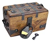 Well Pack Box Wooden Pirate Treasure Chest Box With Full Size Antique Style Lock And Skeleton Key (6.5'x 4'x 4')