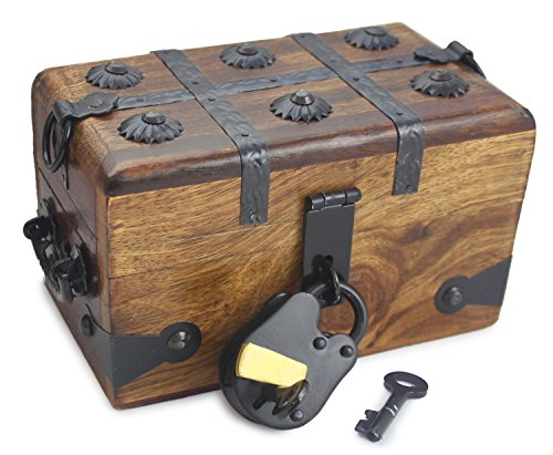 "Well Pack Box Wooden Pirate Treasure Chest Box With Full Size Antique Style Lock And Skeleton Key (6.5""x 4""x 4"")"