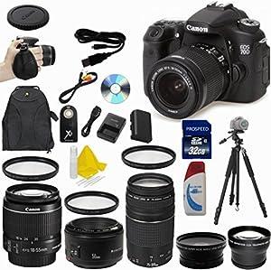 Canon EOS 70D 20.2 MP Digital SLR Camera HUGE VALUE BUNDLE CT KIT - International Version