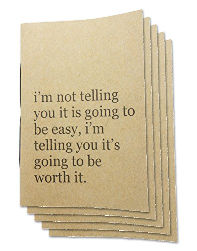 Handmade 4 x 6 inches Notebook / Worth it Quote/ 60 Unlined Page | Lay Flat Binding | Cream Paper – Set of 5