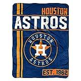 "1 Piece 46"" X 60"" MLB Astros Throw Blanket, Baseball Themed Bedding Sports Patterned, Team Logo Fan Merchandise Athletic Team Spirit Fan Ballpark, Micro Raschel Warm Soft Orange Blue, Polyester"