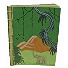 Mr. Ellie Pooh Bamboo Spine Elephant Dung Paper Book, Dark Green (BSB-L-D-Green)