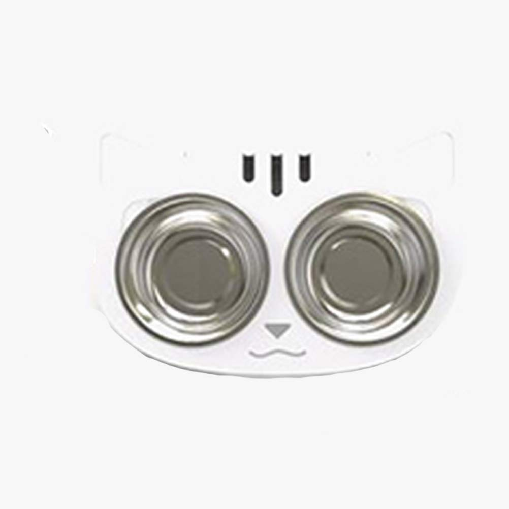 Cat Bowl Stainless Steel Double Bowl Cat Shape White by LDFANG