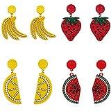 Fruit dangle earrings Boho Dangle Drop Earrings for Women Girls Funny Lifelike Earrings for Women Girls