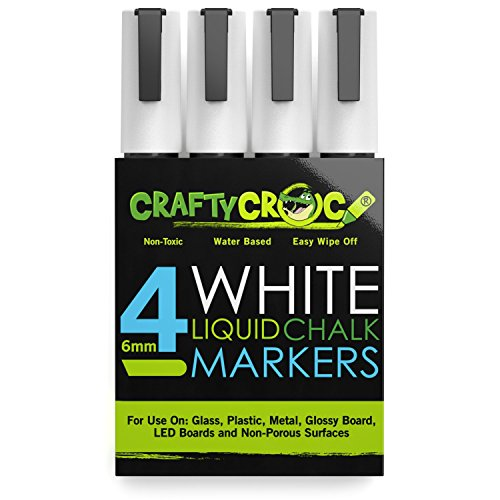 Crafty Croc 4 White Liquid Chalk Markers,