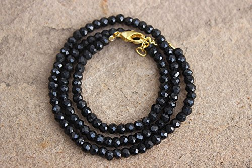 16 Inch Fine Quality Black SPINEL Necklace Faceted Rondelle Roundel Beads Beaded Gemstone Lobster Clasp