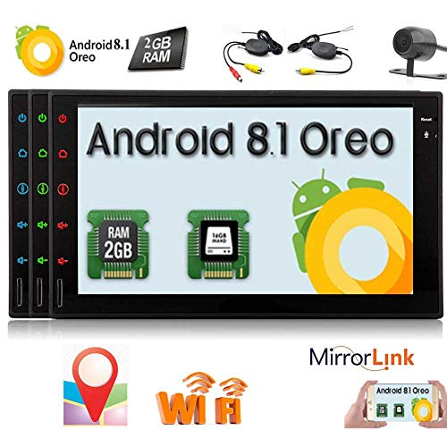 7 inch Car Stereo System with Wireless Backup Camera Android 8.1 OS Car FM/AM Radio Receiver Double 2 Din Full Touch Screen Autoradio Bluetooth GPS Navigation for Car support 1080P/Wifi/Screen Mi