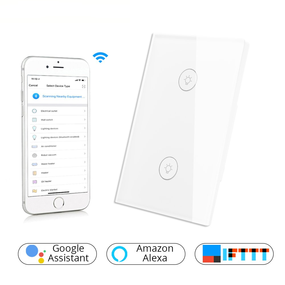 Wifi Smart Wall Touch Light Switch Glass Panel Wireless Remote Le Grand Dimmer 3 Way Wiring Diagram Control By Mobile App Anywhere Work With Amazon Alexa Timing Function No Hub Required