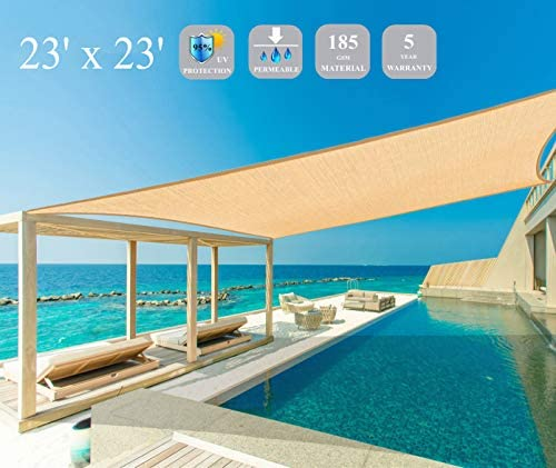 Garden EXPERT 23'x23' Sun Shade Sail Sand Square Canopy Sail Shade Cloth UV Block