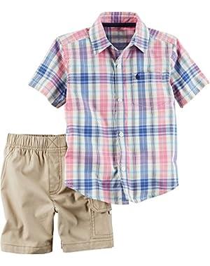Carters Toddler Boys Plaid Pocket Shorts Set 2T Pink/blue/khaki