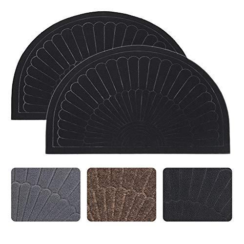 (Half Round Door Mat Entrance Rug Floor Mats Set of 2, Waterproof Floor Mat Shoes Scraper Doormat, 18''x30'' Patio Rug Dirt Debris Mud Trapper Out Door Mat Low Profile Washable Carpet (Black-2 Pack))