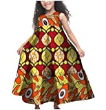 XQS Big Little Girl Fine Cotton African Printed Sleeveless Dresses Yellow XXL