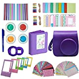 Followsun 10 in 1 Instant Camera Accessories for Fujifilm Instax Mini 8 8+ 9: Purple Case/Album/Selfie Lens/Colored Filters/Border Stickers/Corner Stickers/Hang Frames/Film Table Frames/Card Mark Pen