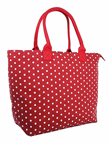 Beach Large Holiday Denim Polka Women Fully Black Tote Red Canvas Bag Lined Bag Shoulder Lightweight Shopper Ladies Dot wPXfq4x5