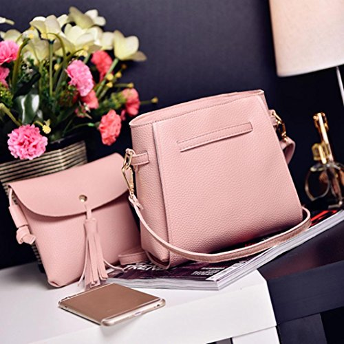 Bag Set Handbag HCFKJ with for 4 Bag Pink Holder Coin Tote School Small Zipper Pocket Pcs Girls Set Women Pcs Clutch Fashion PU Leather Shoulder Wallet Card 4 Teenager Purse Bags XSC0qX