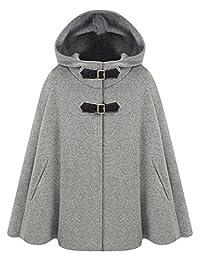 Azbro Women's Winter Wool Blend Hooded Cape Cloak Coat