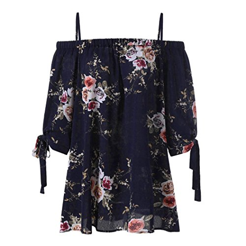 iTLOTL Fashion Womens Plus Size Floral Print Cold Shoulder Blouse Casual Tops ()