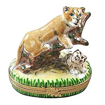 Amazon.com: Cougar W/bebé – caja de Limoges auténtico figura ...