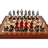 Carribean Pirate Themed Chess Set. Wooden Playing Surface Storage Area and Playing Surface
