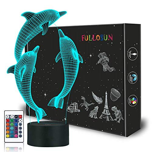 (FULLOSUN Night Light for Kids Ocean Dolphin 3D Night Light Porpoise Bedside Lamp with Remote Control 16 Color Changing Xmas Halloween Birthday Gift for Child Baby Girl)