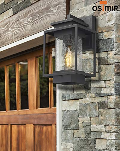 Osimir Outdoor Wall Sconce Light Fixture, 1 Light Exterior Wall Lantern in Black Finish with Crackle Glass Lamp Shade… - HIGH QUALITY OUTDOOR WALL MOUNT LIGHT: Made of sturdy metal construction in black finish, crackle glass lamp shade. Can be easily to match with other decoration style. Ideal for porch, patio, garden, corridor, balconies, terraces, garage door, villa, open field, entryway. WATERPROOF, WEATHER RESISTANT AND RUST RESISTANT: This outdoor wall sconce is ideal for residential or commercial use, able to protect against harsh weather conditions. HARD WIRED: Requires 1x E26 base, A60/ST58/G45 type bulb (Max 60W), Bulb NOT included.Compatible with LED bulb, Incandescent or CFL bulb. - patio, outdoor-lights, outdoor-decor - 51SNpLtApYL -