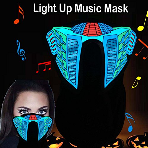 Music Festival Costumes (Flashingworld Music Led party Mask with sound active for dancing,riding,skating,party and any festival (Blue Equalizer))