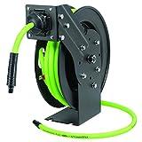 Flexzilla Open Face Retractable Air Hose Reel, 3/8 in. x 25 ft, Heavy Duty, Lightweight, Hybrid, ZillaGreen - L8603FZ