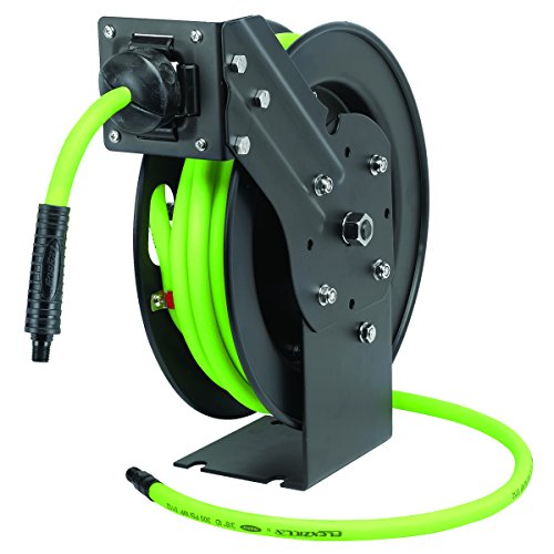 Flexzilla Open Face Retractable Air Hose Reel, 3/8 in. x 25 ft, Heavy Duty, Lightweight, Hybrid, ZillaGreen - L8603FZ