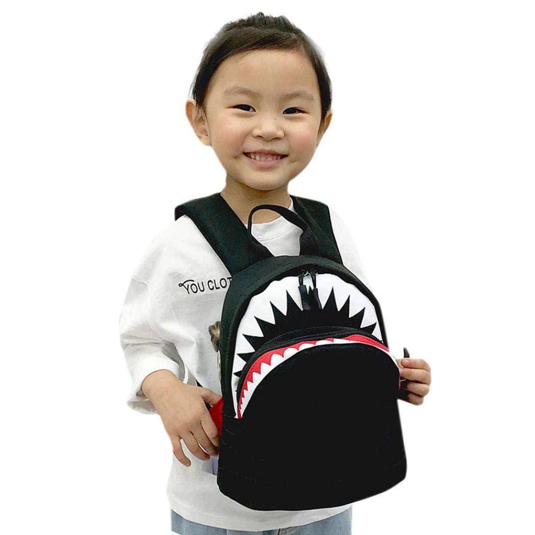 Clearance Sale Kids Boy Girl Cartoon Shark Preschool Backpack School Bookbags Shoulder Bag (L, Black)