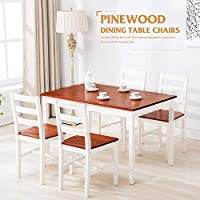 Mecor 5 Piece Kitchen Dining Table Set, 4 Wood Chairs...