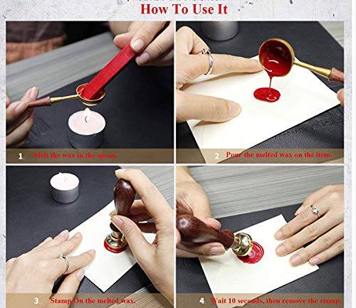 CTEB 'All You Need is Love' Heart Stars Wax Seal Stamp Kit Wood Handle Melting Spoon Wax Sticks Candle Gift Box Set Christmas Gift Cards Weding Invitations Envelopes Letter Sealing Wax Seal Stamp Kit