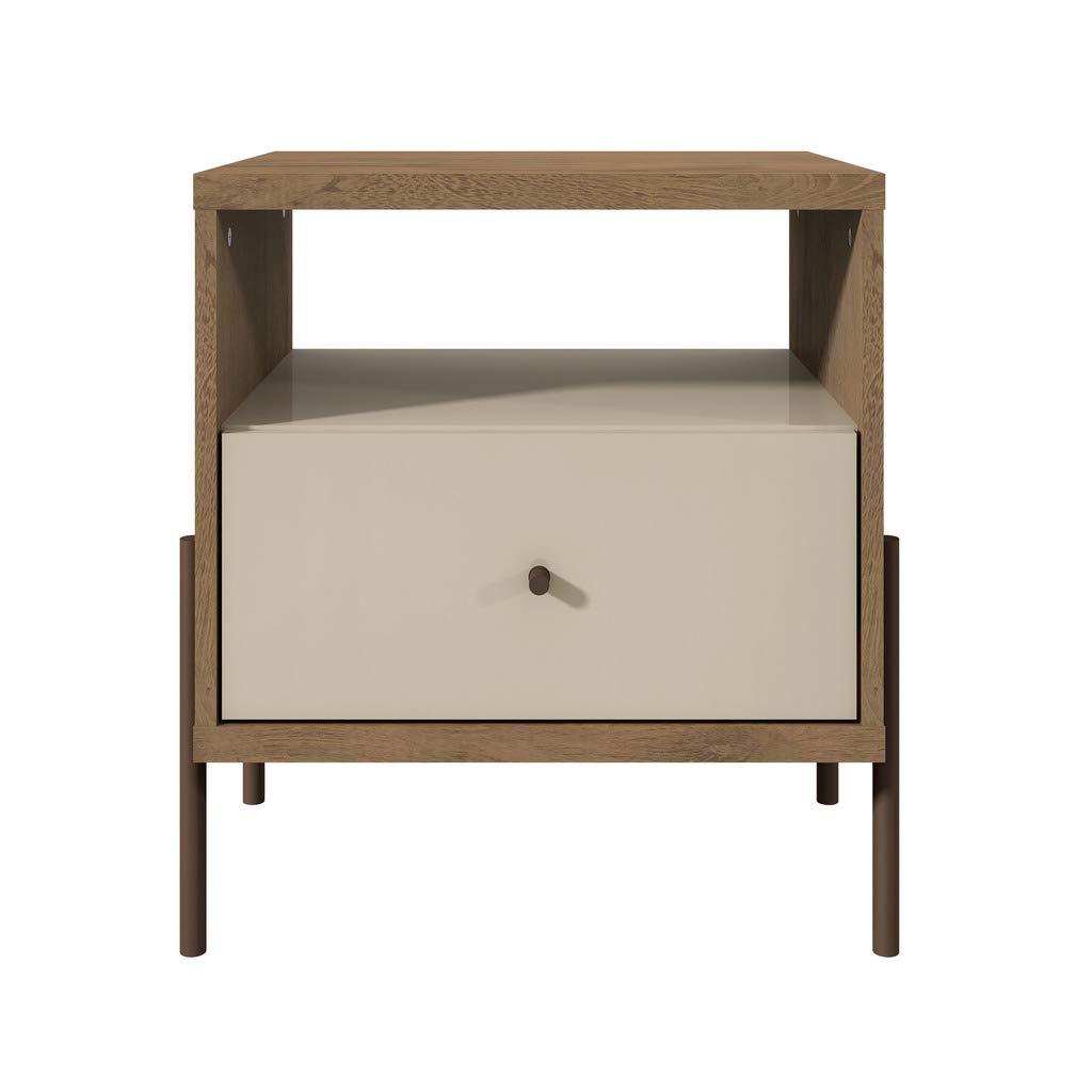 Manhattan Comfort Joy Series Modern 1-Drawer Bedroom Nightstand, Off-White by Manhattan Comfort