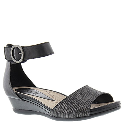 Earth Women's Hera Ankle Strap Sandal,Grey Textured Leather,US 10 M -