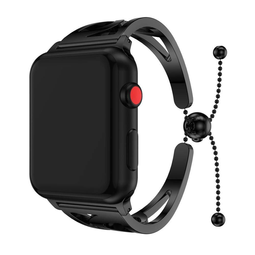 JiaMeng Metal Correas para Apple Watch Series 3 42mm, Acero Inoxidable Banda de Reemplazo Pulsera (Negro): Amazon.es: Ropa y accesorios
