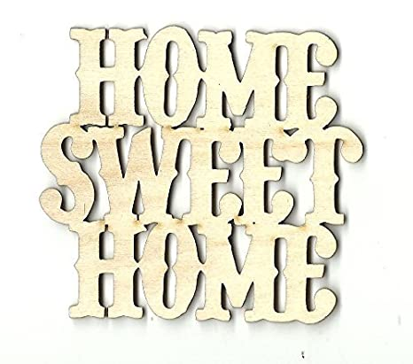 """Home Decor Wooden Sign /""""HOME sweet HOME/"""" Cutout Unfinished and Available"""
